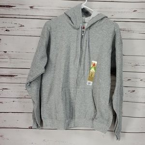 Hanes Men's Full Zip Grey Hoodie sweatshirt jacket